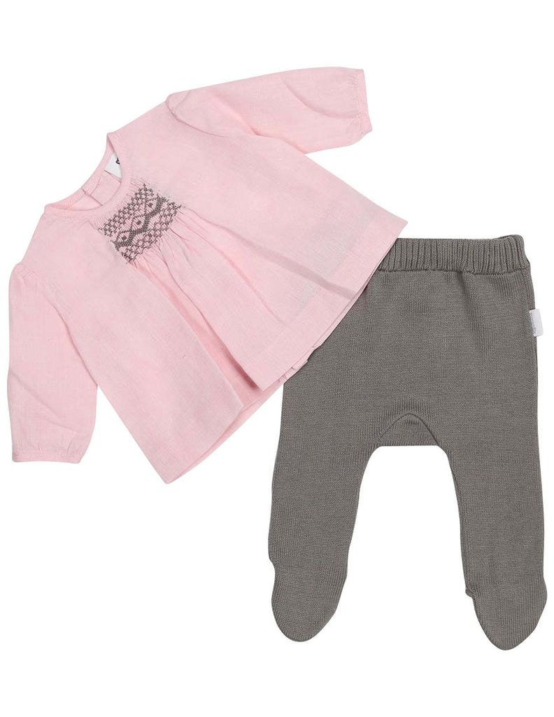 C13015P Classique Girl Linen Hand Smocked Blouse with Knit Leggings