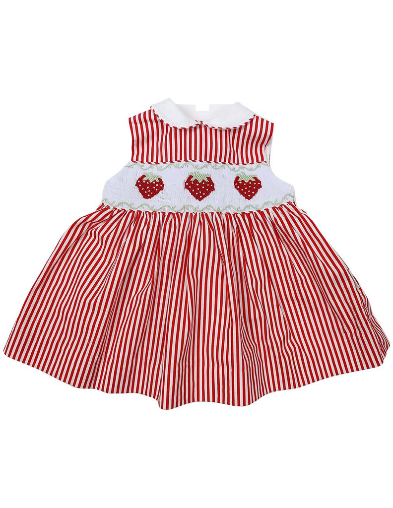 C1223R Strawberry Collared Dress-Dress-Korango_Australia-Kids_Fashion-Children's_Wear