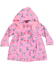 A1341P Rainwear Raincoat Butterfly Print Polar Fleece Lined