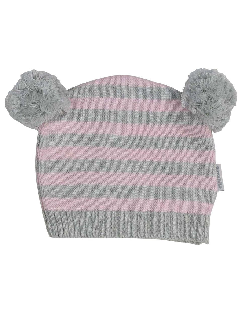 B13027P Baa Baa White Sheep Stripe Knit Beanie with Pom Poms