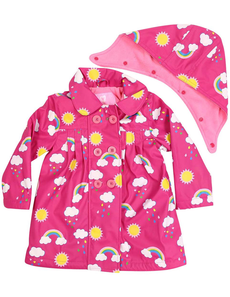 A1340P Rainwear Raincoat Rainbow Print Polar Fleece Lined