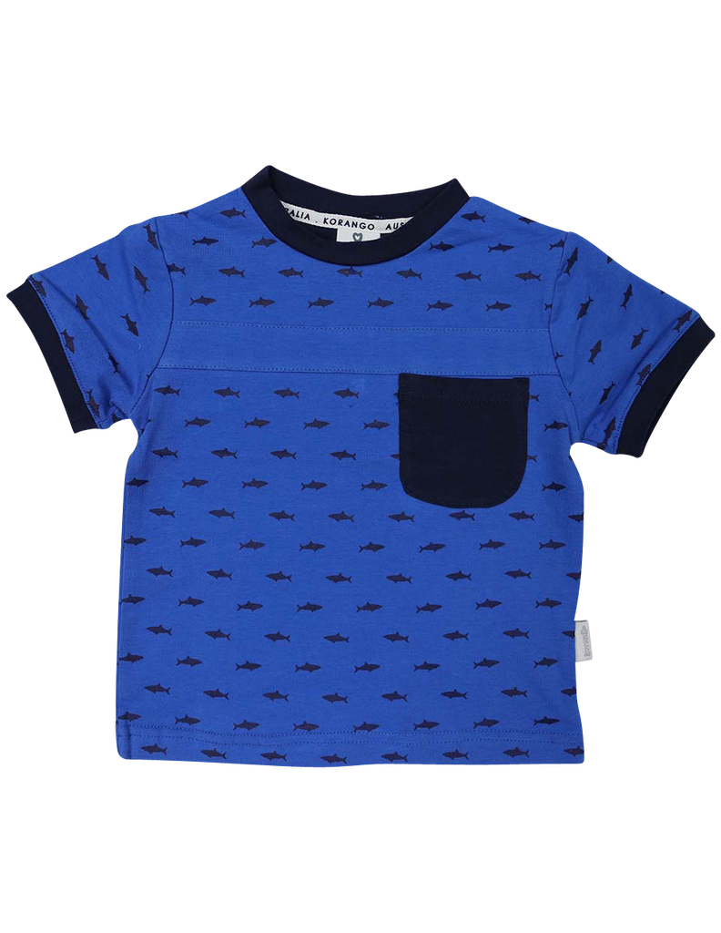 A1223B Shark Tee-Tops-Korango_Australia-Kids_Fashion-Children's_Wear
