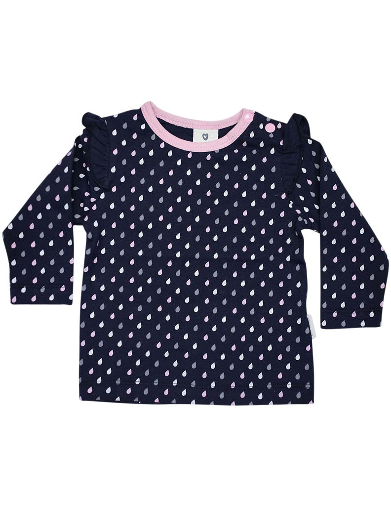 A1309N Raindrops Long Sleeve Rain Print Tee with Frill