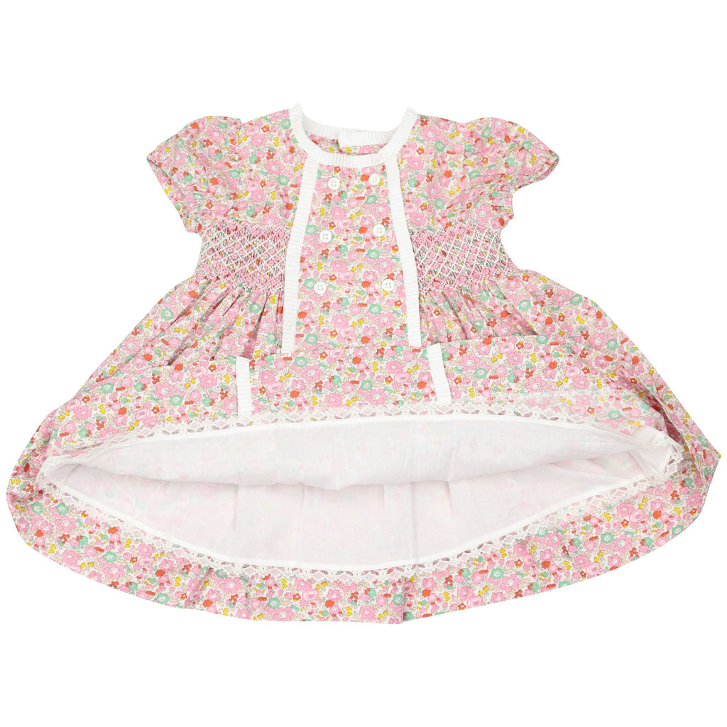 C1409P Classic Floral Smocked Dress