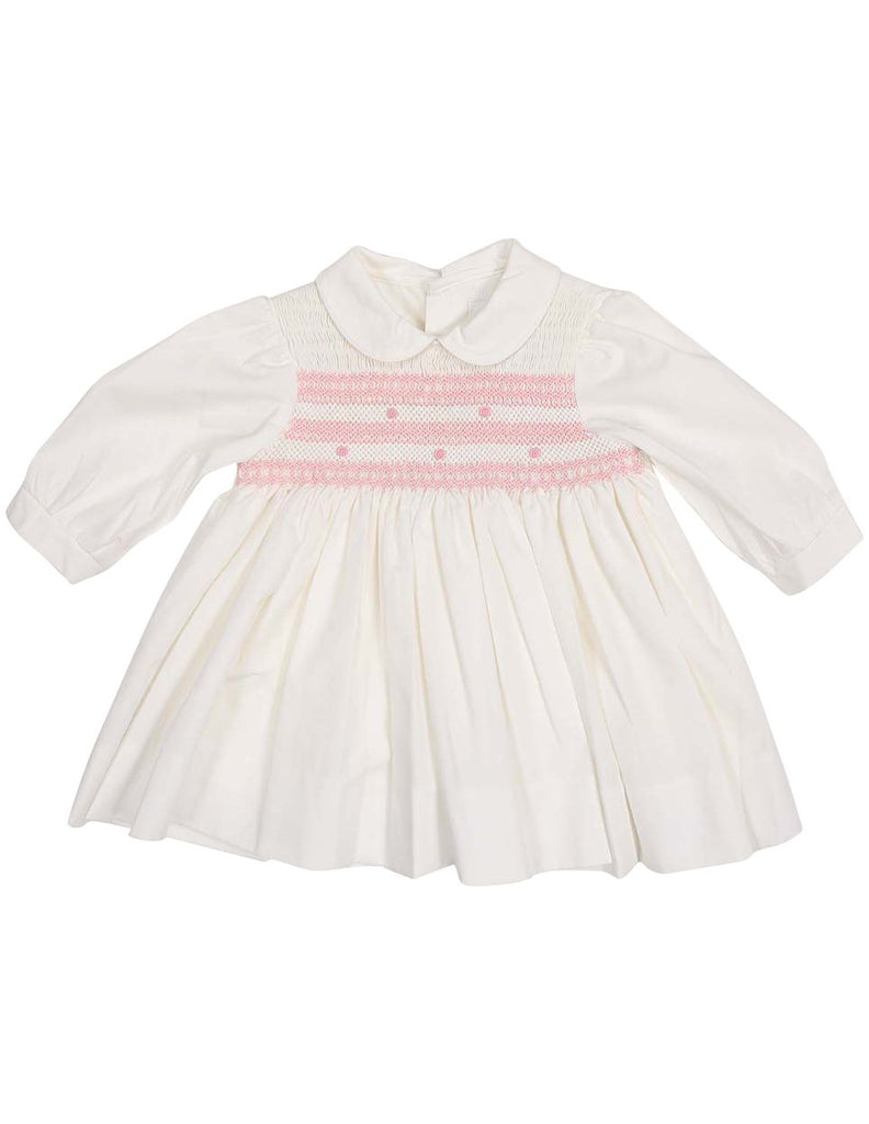 C13003I Timeless Hand Smocked/Embroidered Cotton Twill Dress