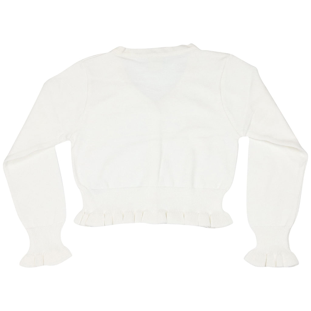 C1420W White L/S Crop Cardigan