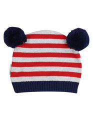 B13007R Little Tiger Stripe Knit Beanie with Pom Poms