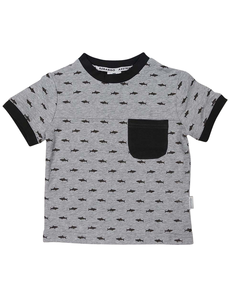 A1223C Shark Tee-Tops-Korango_Australia-Kids_Fashion-Children's_Wear