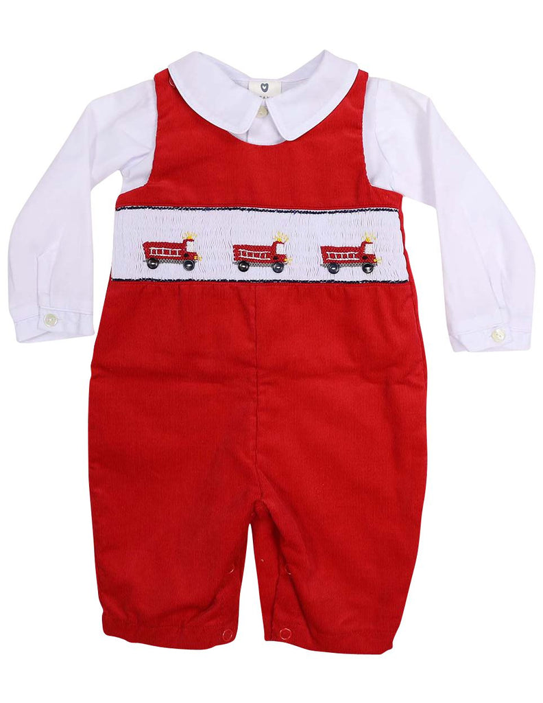 C13006R Fire Truck Corduroy Overall and Shirt - Hand Smocked/Embroidered