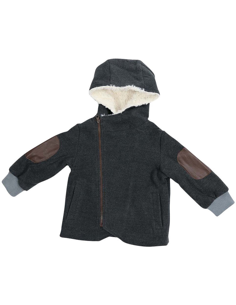 A1326C City Lined Zip up Jacket with Fur Lined Hood