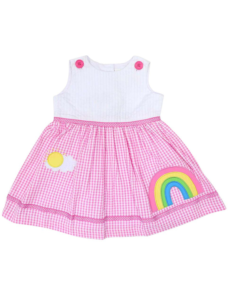 A1215H Seersucker Rainbow Dress-Dress-Korango_Australia-Kids_Fashion-Children's_Wear