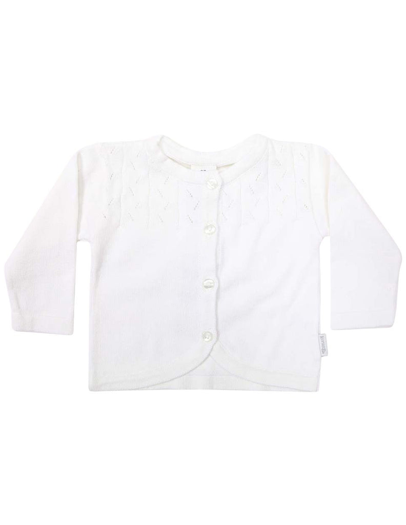 C1203W Rosette Cardigan-Cardigans/Jackets/Sweaters-Korango_Australia-Kids_Fashion-Children's_Wear