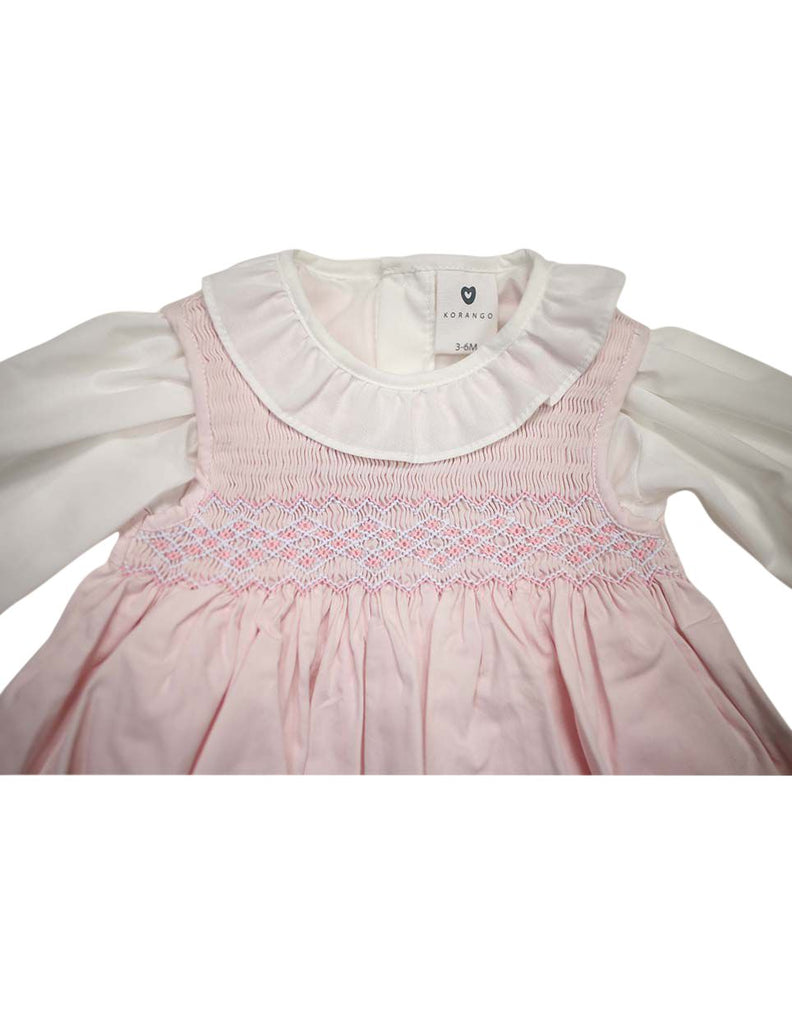 C13004P  Timeless Hand Smocked/Embroidered Cotton Twill Dress & Blouse