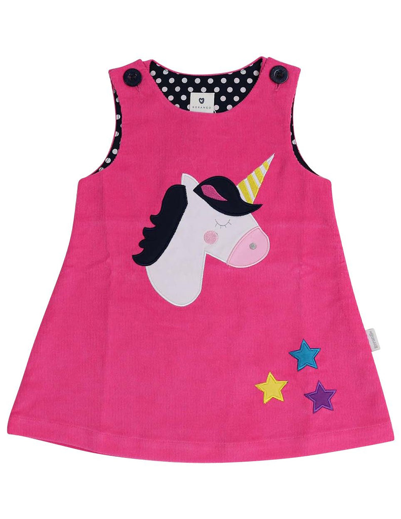 A1353P Standing out from the Crowd Unicorn Lined Cord Pinafore