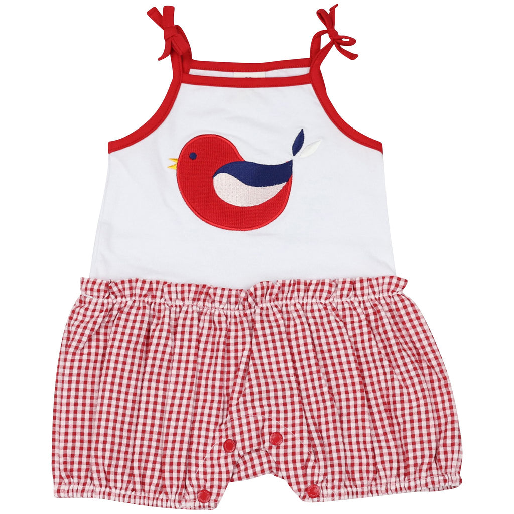 B1421R Chirpy Bird Playsuit with Applique