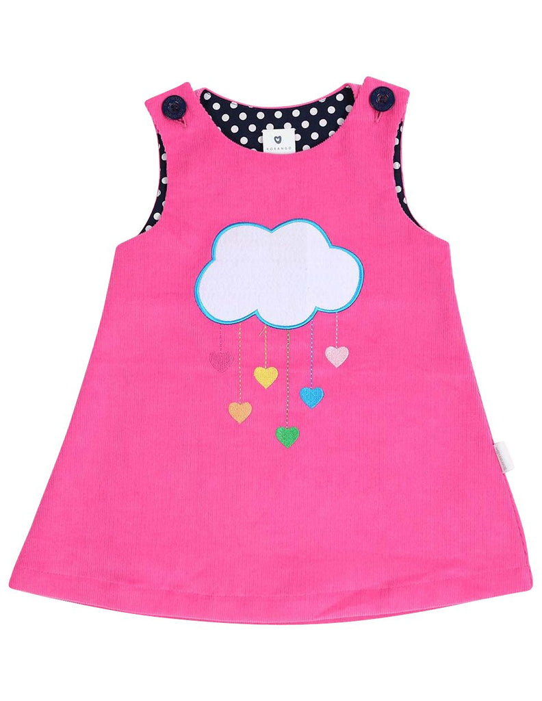 A1355P Standing out from the Crowd Clouds and Hearts Lined Cord Pinafore