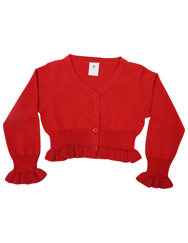 A1422R Cherries Frill Cardigan