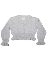 C1420G Grey Floral L/S Crop Cardigan