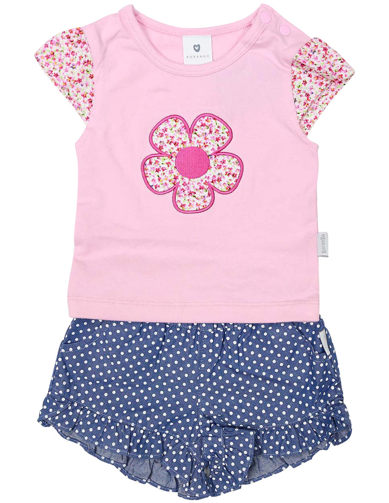 A1409P Flowers Flower Top and Short Set
