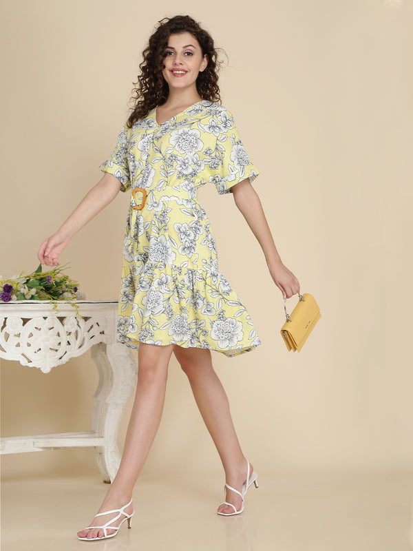 Bohobi Women Yellow Floral Print Dress with Belt  Color: Yellow Fabric: Cotton Lining: Cotton Lining Pattern: Floral Print Fit: Comfort Fit Length: Above Knee Length Detail: Waist Belt Neck: V Neck Care: Gentle Machine Wash