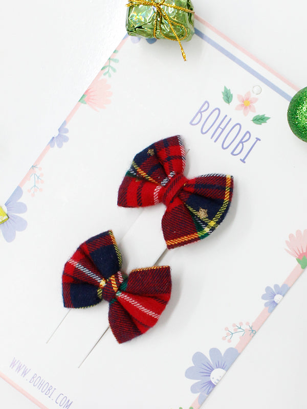 Red Star Check Bow- Set of 2