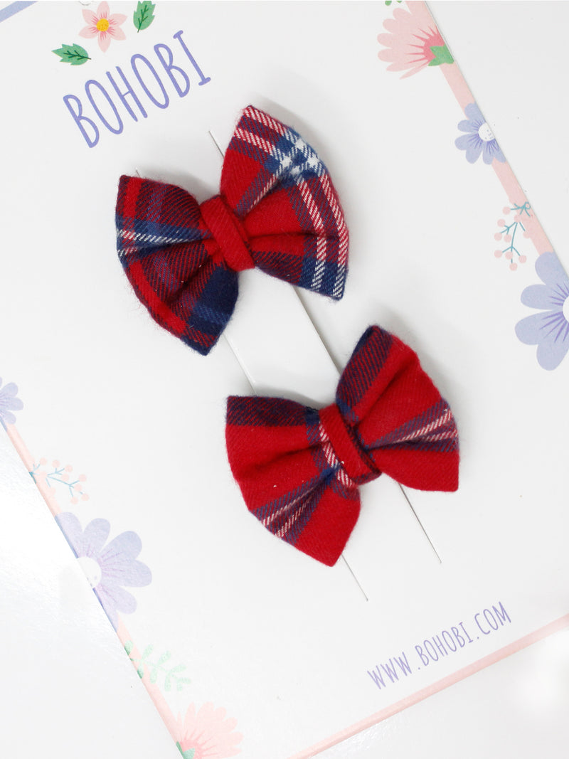 Red Scottish Check Bow- Set of 2