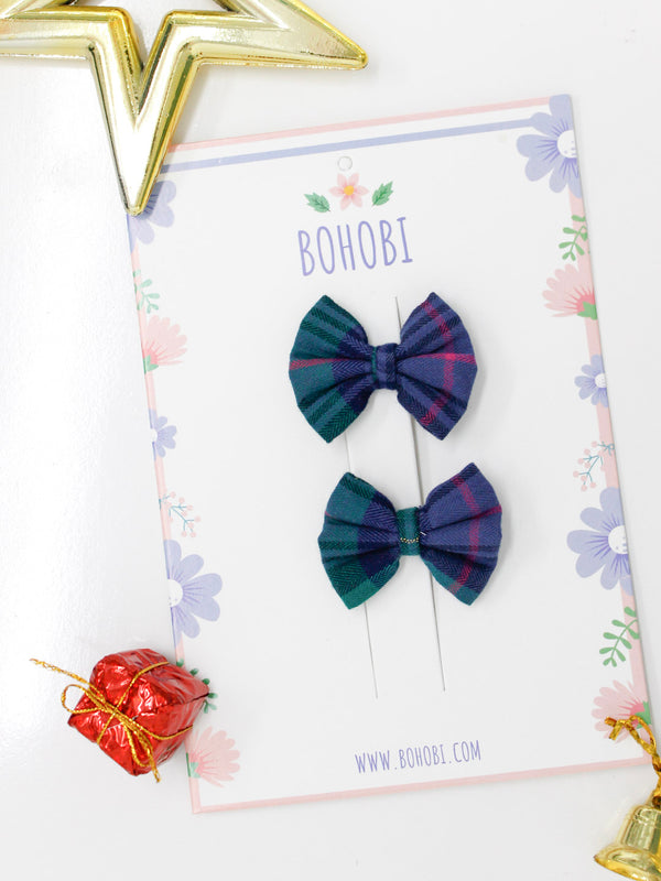 Green Check Bow- Set of 2