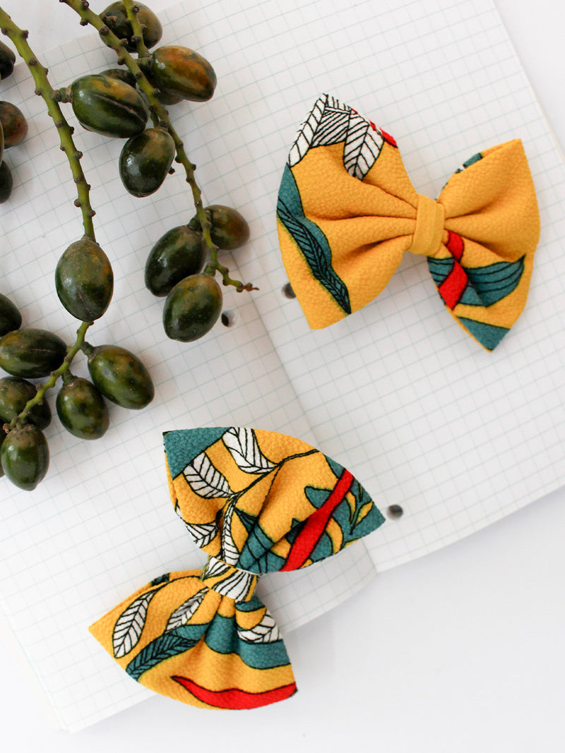 Floral Mustard Bow- Set of 2