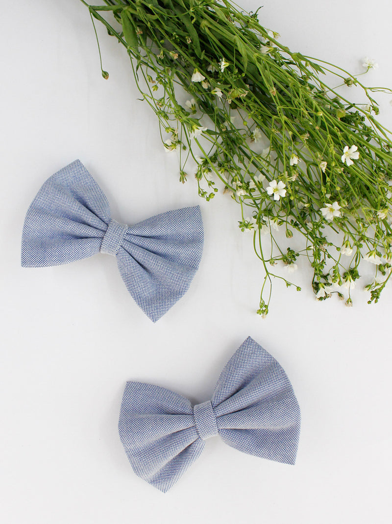 Classic Blue Bow- Set of 2