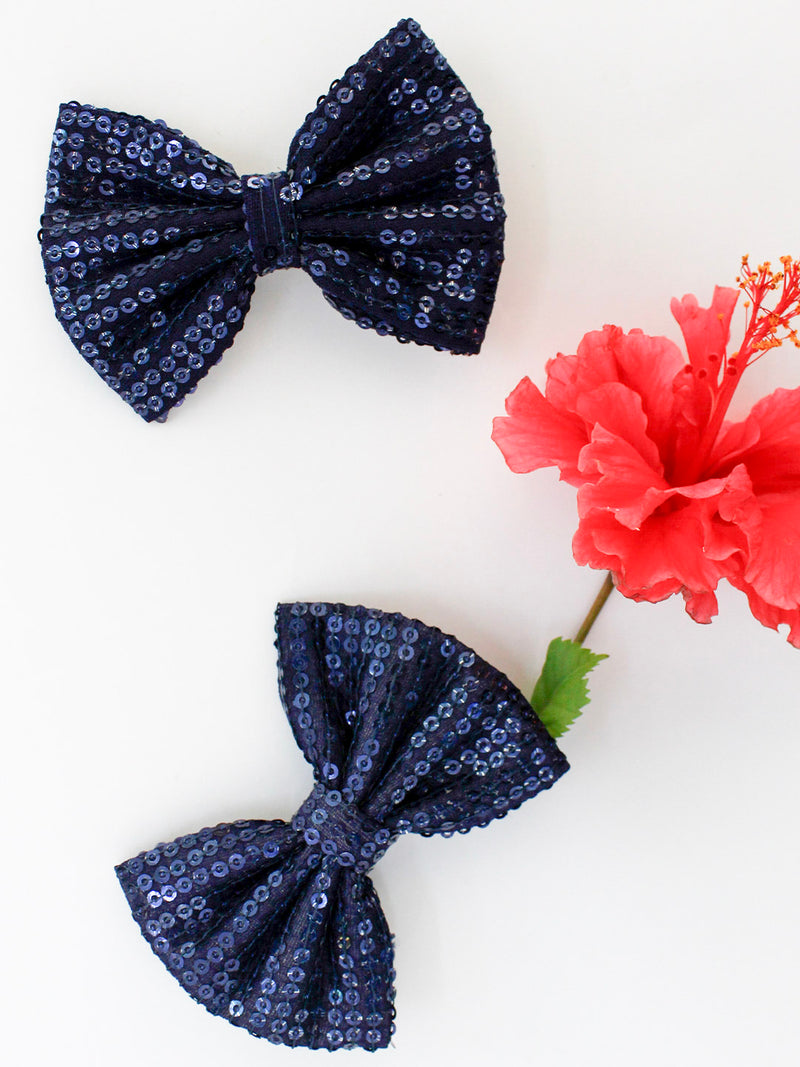 Sparkling Blue Bow- Set of 2