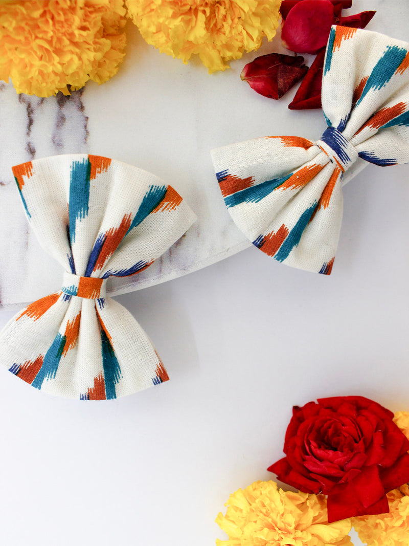 White Ikat Bow- Set of 2