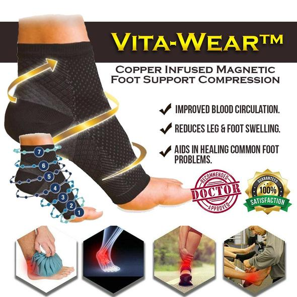 Vita-Wear™ Copper Infused Magnetic Foot Support Compression