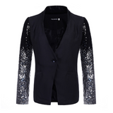 Slim-fit švy Sequin Sleeves One Button Blazer