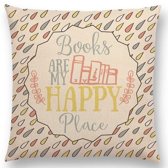 Hot Sale Happy Days Nice Tea Reading Good Books Beautiful Life Gorgeous Words Decorative Letters Cushion Cover Sofa Pillow Case
