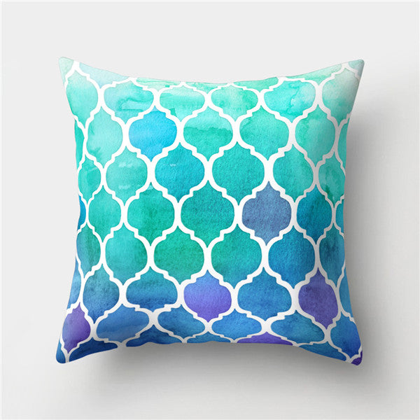 Modern Sofa Cushion Cover Cotton Polyester Decorative Throw Pillow Cover Plaid Geometry Printed Bedding Home Decor 45x45