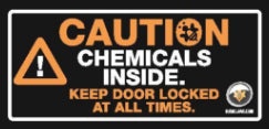ZL010 - Label Caution Chemicals Stored
