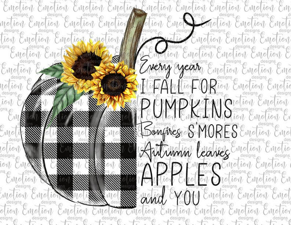 Buffalo Plaid Pumpkin with Flowers