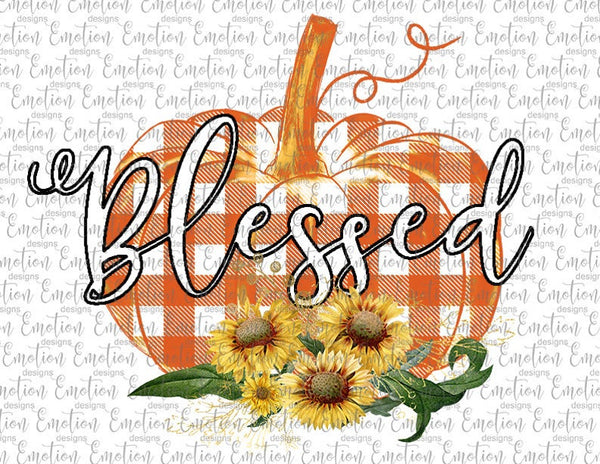 Blessed Pumpkin Buffalo Plaid