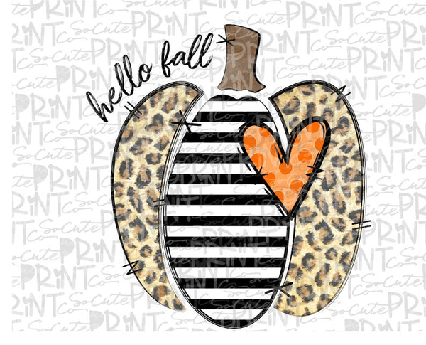 Hello Fall Leopard Print Pumpkin