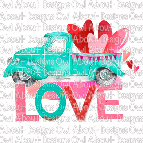 Love Truck Hearts Valentine's Day