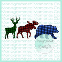 Deer Moose Bear Buffalo Plaid