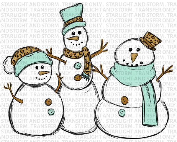 Winter Snowman Trio in Leopard