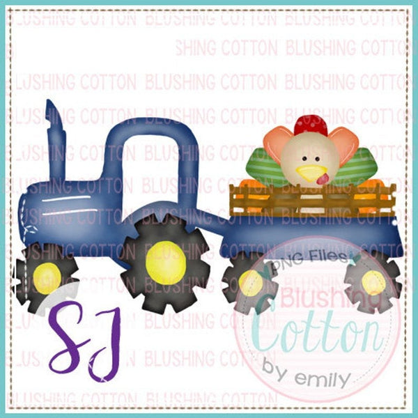 Blue Tractor with Turkey