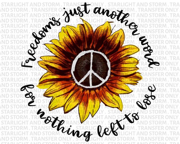 Freedom Peace Sign Sunflower Design