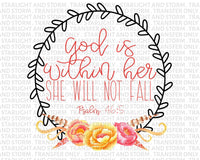 God is Within Her Watercolor Floral Wreath