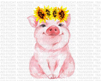 Sunflower Pig Cute Farm