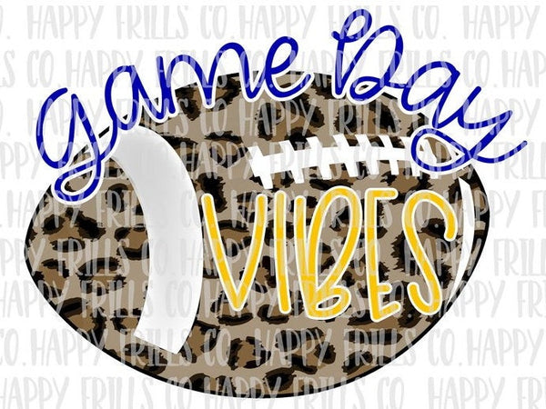 Football Cheetah Game Day Vibes – Blue and Yellow
