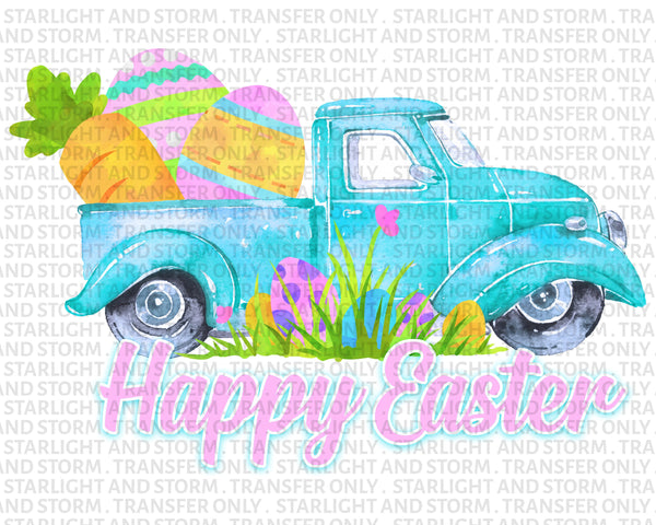 Happy Easter Egg Blue Truck