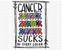 Cancer Sucks In Every Color Ribbon