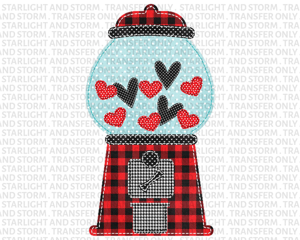 Buffalo Plaid Valentine Gumball Machine
